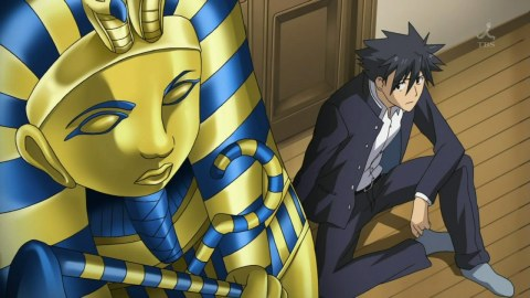Junpei and Nagi (in the sarcophagus)