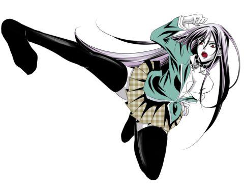 She kicks high.